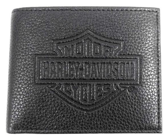 Harley-Davidson Mens B&S Embossed Pocketed Billfold Leather Wallet MSB8361-BLACK - Wisconsin Harley-Davidson