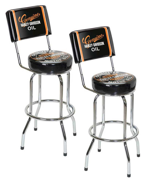 Harley-Davidson Genuine Oil Can Bar Stool w/ Backrest HDL-12203 Pack of 2 Stools - Wisconsin Harley-Davidson