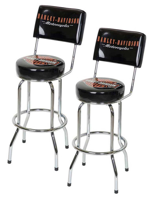 Harley-Davidson Bar & Shield Bar Stools With Back Rest HDL-12204 Set of 2 Stools - Wisconsin Harley-Davidson