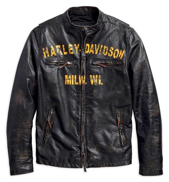 Harley-Davidson Men's Forge Distressed Slim Fit Leather Jacket, Black 97006-18VM - Wisconsin Harley-Davidson