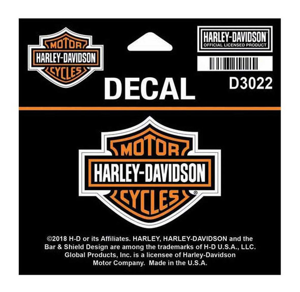 Harley-Davidson Bar & Shield Logo Orange Decal, SM 2.25 x 1.75 inches D3022 - Wisconsin Harley-Davidson