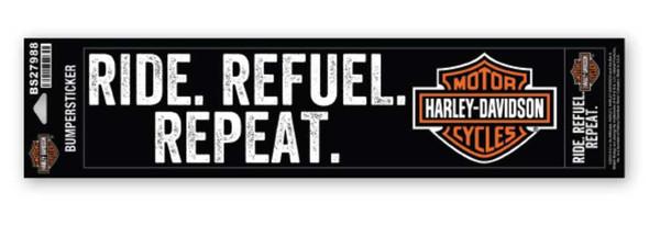 Harley-Davidson Ride - Refuel - Repeat Bumper Sticker, Black - LG & SM BS27988 - Wisconsin Harley-Davidson