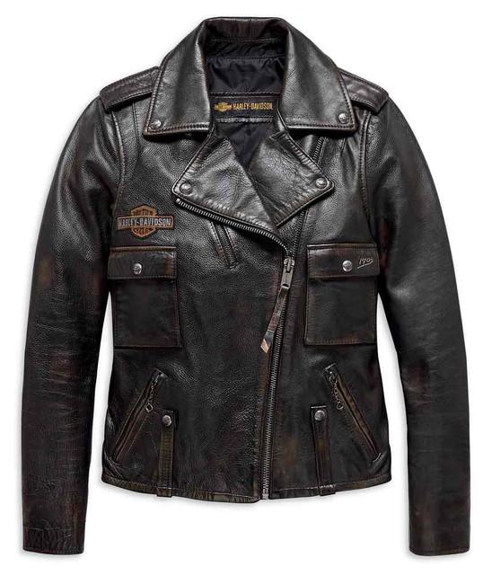 Harley-Davidson Women's Eagle Logo Distressed Leather Biker Jacket 98076-19VW - Wisconsin Harley-Davidson