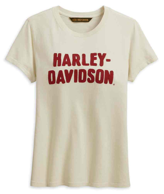 Harley-Davidson Women's Chain Stitched Short Sleeve Tee, Off-White 99232-19VW - Wisconsin Harley-Davidson