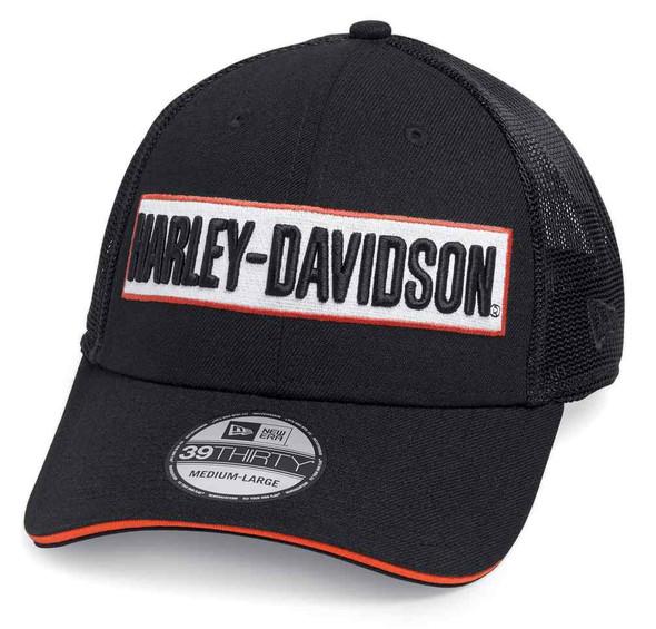 Harley-Davidson Men's Embroidered 39THIRTY Trucker Cap, Black 99471-19VM - Wisconsin Harley-Davidson