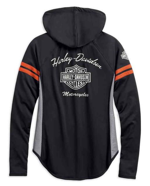 Harley-Davidson Women's Performance Mesh Accent Hoodie, Black 99242-19VW - Wisconsin Harley-Davidson