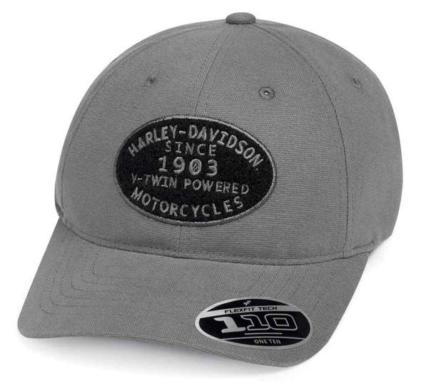 Harley-Davidson Men's V-Twin Powered Adjustable Baseball Cap, Gray 99461-19VM - Wisconsin Harley-Davidson