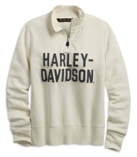 Harley-Davidson Women's Felt Letter 1/4-Zip Pullover, White 99224-19VW - Wisconsin Harley-Davidson