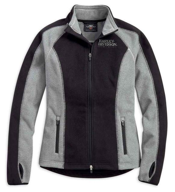 Harley-Davidson Women's Skull Windproof Fleece Jacket, Black & Gray 98407-19VW - Wisconsin Harley-Davidson