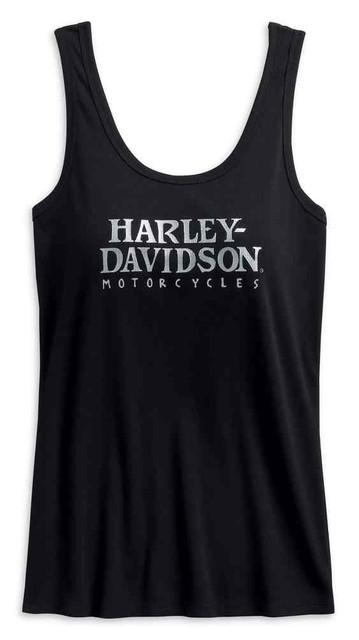 Harley-Davidson Women's Foil Print Skull Sleeveless Tank Top, Black 99226-19VW - Wisconsin Harley-Davidson