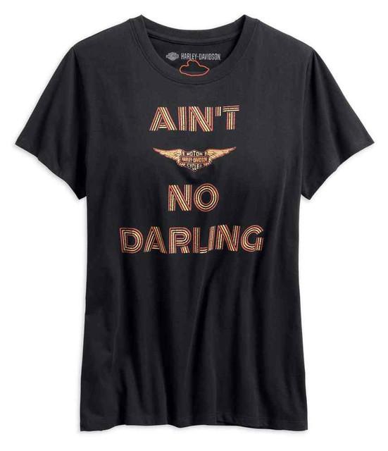 Harley-Davidson Women's Ain't No Darling Short Sleeve Tee, Black 99268-19VW - Wisconsin Harley-Davidson