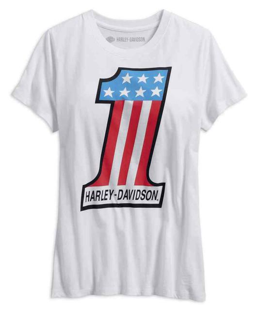 Harley-Davidson Women's Retro #1 Short Sleeve Scoop Neck Tee, White 99238-19VW - Wisconsin Harley-Davidson