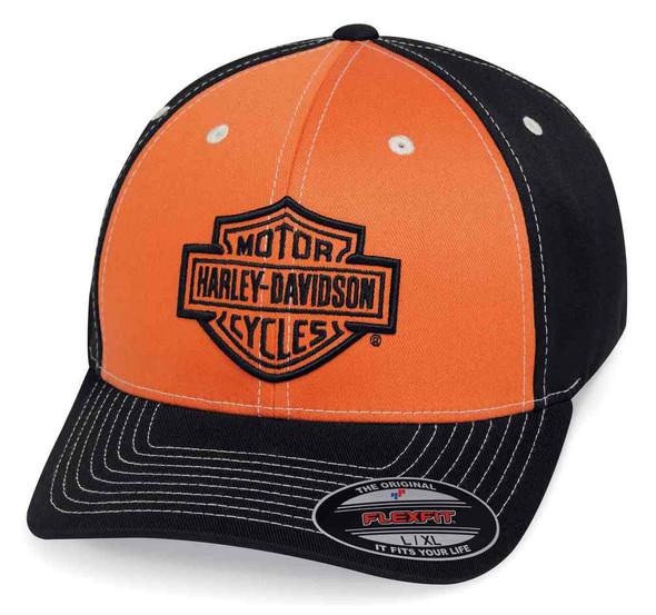 Harley-Davidson Men's Colorblock Stretch Baseball Cap, Orange & Black 99469-19VM - Wisconsin Harley-Davidson