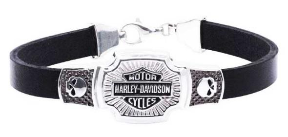 Harley-Davidson Men's Bar & Shield Classic Leather Bracelet, Silver HDB0382 - Wisconsin Harley-Davidson