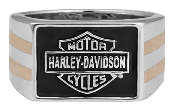 Harley-Davidson Men's Gold & Silver Classic B&S Signet Ring, Steel HMR0018 - Wisconsin Harley-Davidson
