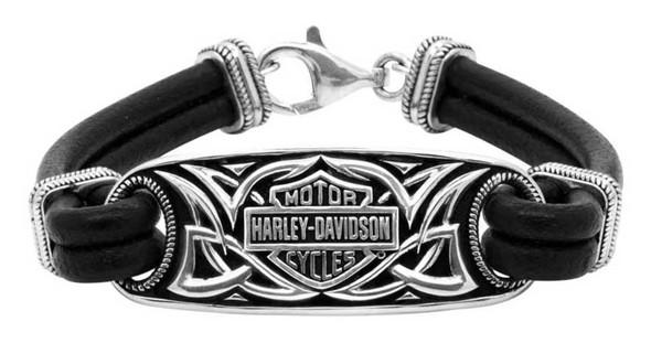 Harley-Davidson Men's Celtic Bar & Shield Leather Bracelet, Silver HDB0381 - Wisconsin Harley-Davidson