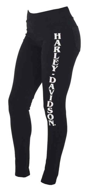 Harley-Davidson Women's H-D Embellished Leggings w/ Back Pockets - Black - Wisconsin Harley-Davidson