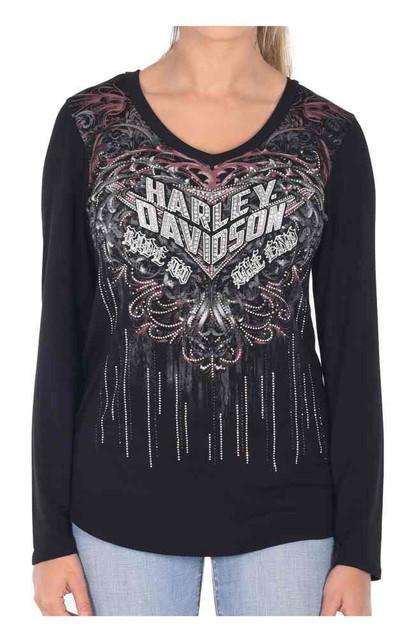 Harley-Davidson Women's To The End Embellished Long Sleeve V-Neck Tee, Black - Wisconsin Harley-Davidson