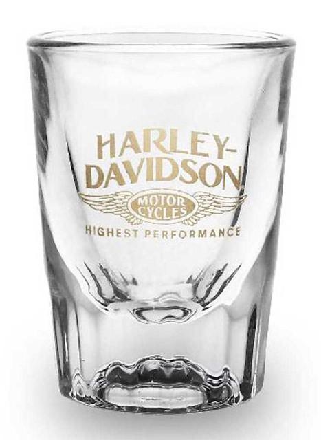 Harley-Davidson High Performance 2oz Shot Glass, Short Fluted Bevel SG33671 - Wisconsin Harley-Davidson