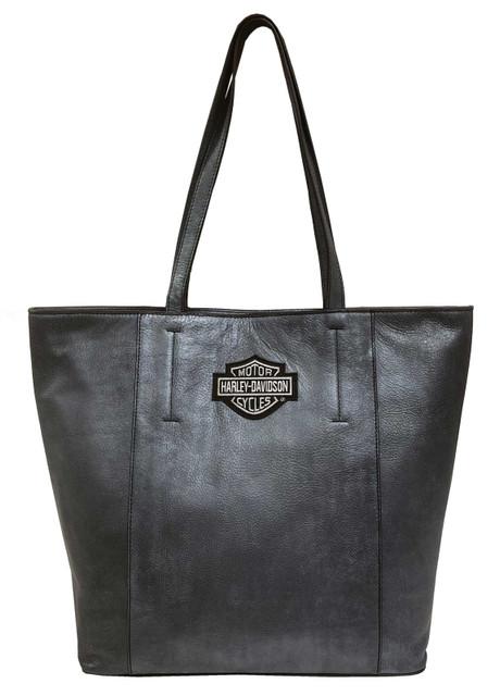 Harley-Davidson Women's B&S Travel Leather Tote Bag - Silverado 99516-SILVER - Wisconsin Harley-Davidson