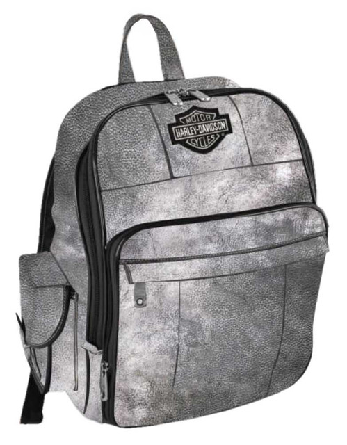 Harley-Davidson B&S Leather Backpack w/ Pockets - Silverado 99678-SILVER - Wisconsin Harley-Davidson