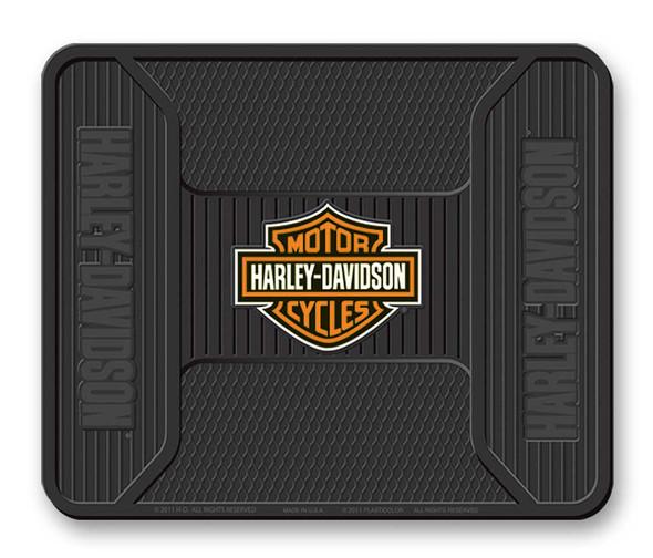 Harley-Davidson Elite Series Orange Bar & Shield Logo Utility Mat - Black P1107 - Wisconsin Harley-Davidson