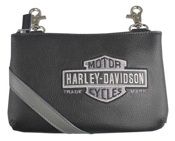 Harley-Davidson Women's Vintage B&S Embroidery Hip Bag w/ Strap VBS6243-GRYBLK - Wisconsin Harley-Davidson