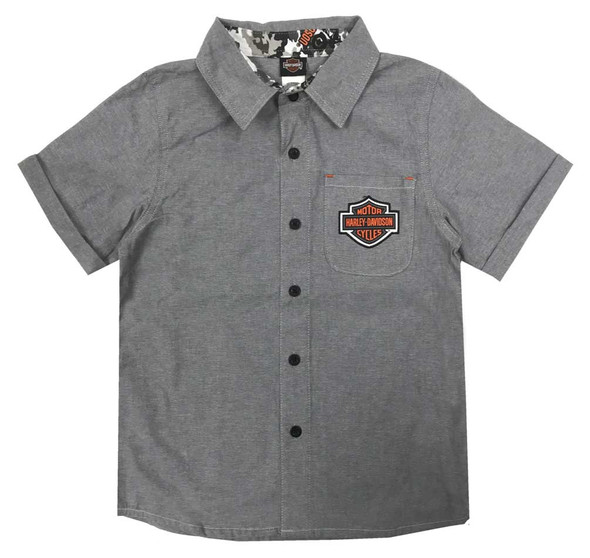 Harley-Davidson Little Boys' B&S Short Sleeve Chambray Shop Shirt, Gray 1081929 - Wisconsin Harley-Davidson