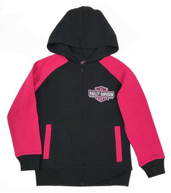 Harley-Davidson Little Girls' Glittery B&S Knit Zipper Hoodie, Black & Pink - Wisconsin Harley-Davidson