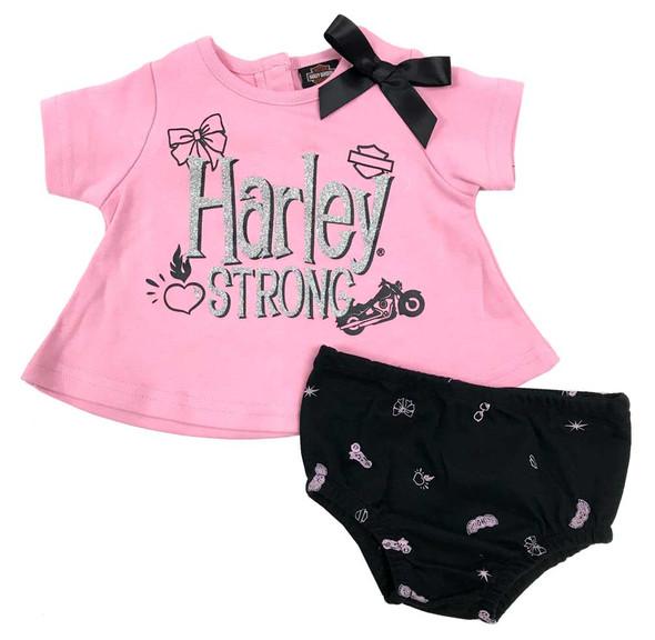 Harley-Davidson Baby Girls' Knit Tunic & Diaper Cover Infant Set, Pink 2011921 - Wisconsin Harley-Davidson