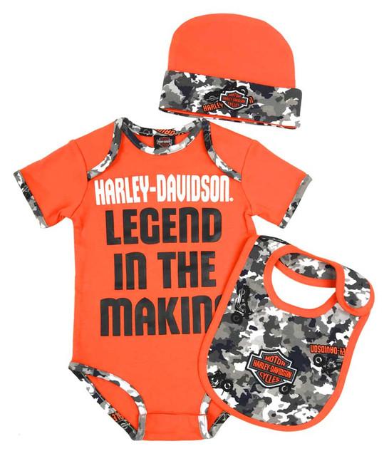 Harley-Davidson Baby Boys' Camo 3-piece Newborn Creeper Set w/ Hat & Bib 2551905 - Wisconsin Harley-Davidson