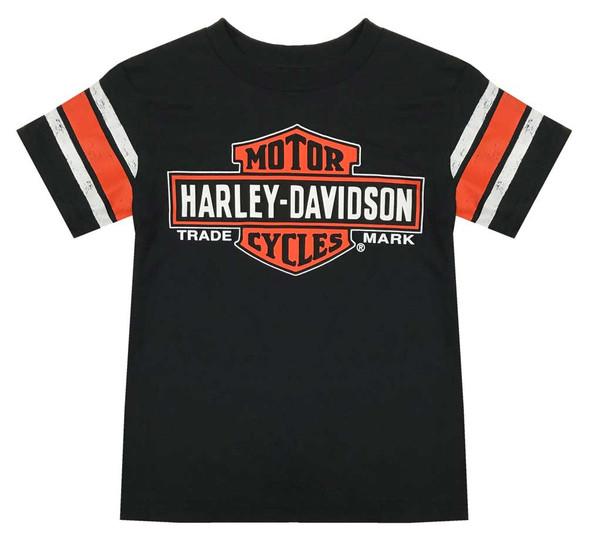 Harley-Davidson Little Boys' Interlock Distressed Short Sleeve Tee, Black - Wisconsin Harley-Davidson