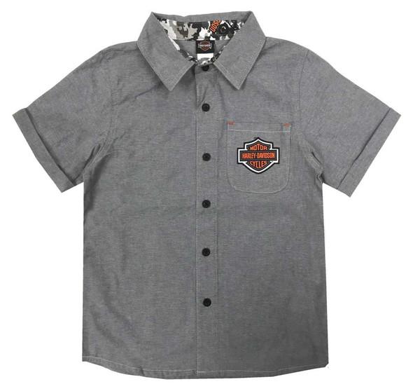 Harley-Davidson Little Boys' B&S Short Sleeve Chambray Shop Shirt, Gray 1071929 - Wisconsin Harley-Davidson