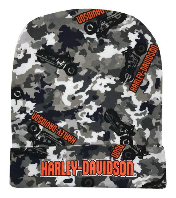 Harley-Davidson Baby Boys' Camo Infant Slouchy Beanie Hat, Black & Gray 7261903 - Wisconsin Harley-Davidson