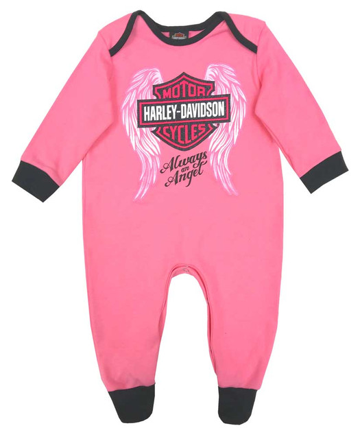 Harley-Davidson Baby Girls' Glittery Interlock Footed Coveralls, Pink 3000913 - Wisconsin Harley-Davidson