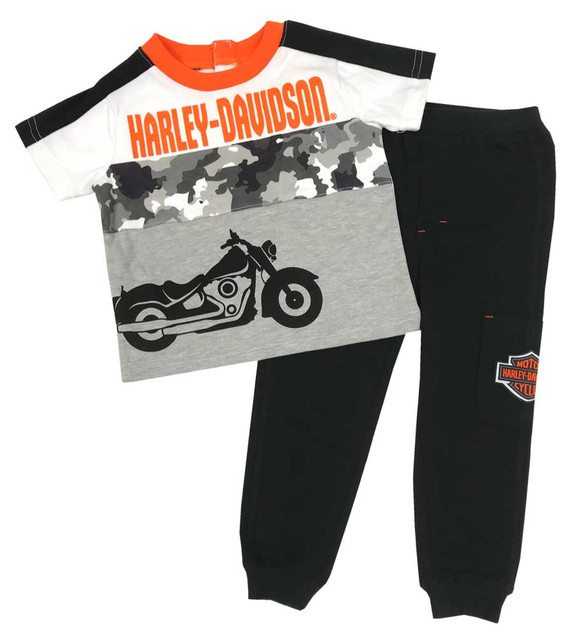 Harley-Davidson Little Boys' Toddler Knit Pant Set w/ Short Sleeve Tee 2071909 - Wisconsin Harley-Davidson