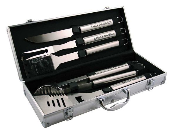 Harley-Davidson 6-piece Grill Tools Set w/ Metal Silver Carrying Case HDX-98503 - Wisconsin Harley-Davidson