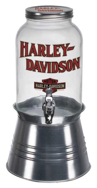 Harley-Davidson 8.5 quart Glass Beverage Dispenser w/ Metal Stand HDX-98502 - Wisconsin Harley-Davidson