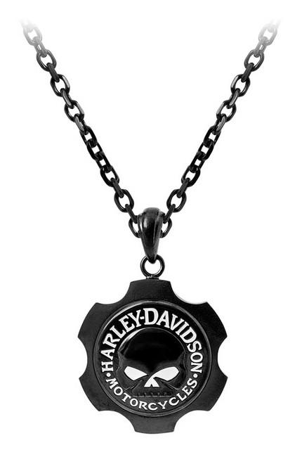 Harley-Davidson Men's Black Axel Willie G Skull Emblem Chain Necklace HSN0055-22 - Wisconsin Harley-Davidson
