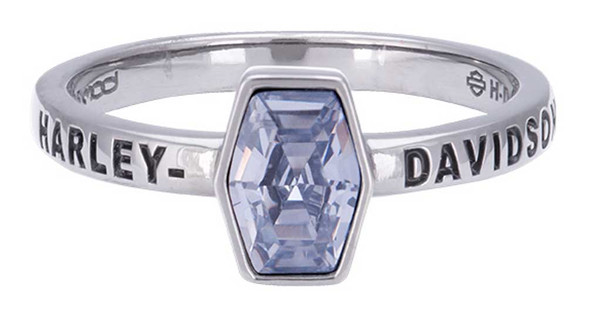 Harley-Davidson Women's Ruthenium Plated Stone Stackable Ring, Gray HDR0489 - Wisconsin Harley-Davidson