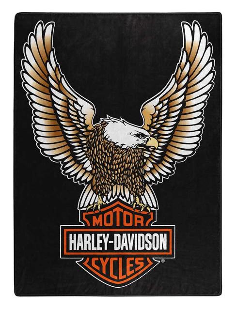 Harley-Davidson Fly High Large Raschel Throw Blanket, 60 x 80 inch NW117355 - Wisconsin Harley-Davidson