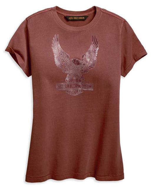 Harley-Davidson Women's Flocked Eagle Short Sleeve Tee, Burnt Red 96841-19VW - Wisconsin Harley-Davidson