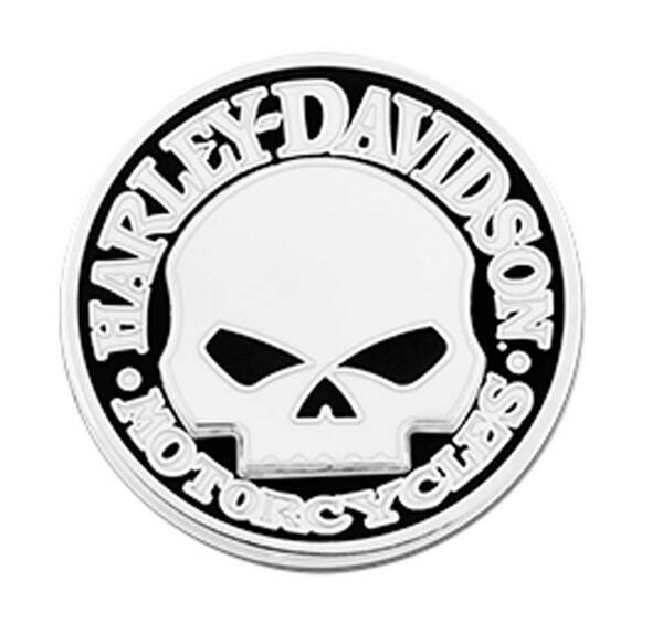 Harley-Davidson 1.25 in. 2 Piece Willie G Skull Pin, Shiny Nickel Finish 8008918 - Wisconsin Harley-Davidson
