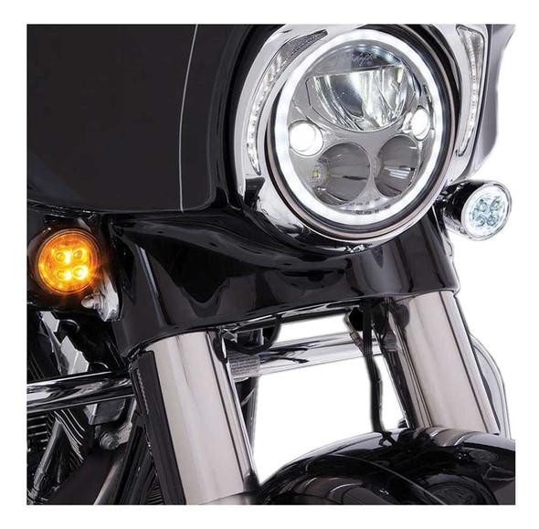 Ciro Fang Front LED Signal Light Inserts '00-up Harley Bullet Lights Black 45420 - Wisconsin Harley-Davidson