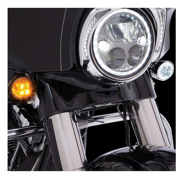 Ciro Fang Front LED Signal Light Inserts, '00-up Harley Bullet Lights, Chrome - Wisconsin Harley-Davidson