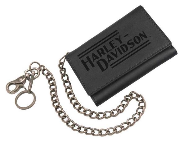 Harley-Davidson Men's Currency & Coin Biker Tri-Fold Medium Wallet IM2118L-BLACK - Wisconsin Harley-Davidson