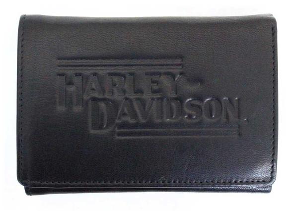 Harley-Davidson Mens Currency & Coin Leather Tri-Fold Wallet IM2140L-BLACK - Wisconsin Harley-Davidson