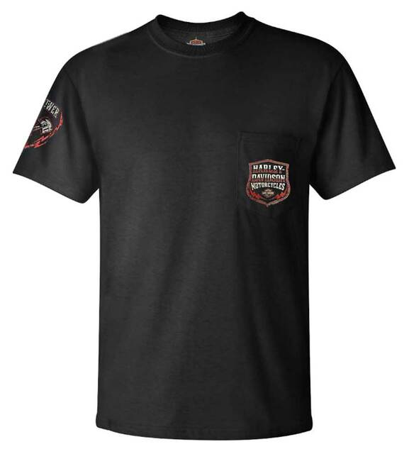 Harley-Davidson Men's Electrifying Chest Pocket Short Sleeve T-Shirt - Black - Wisconsin Harley-Davidson