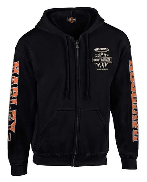 Harley-Davidson Men's H-D Rider Skull Zip-Up Fleece Hoodie - Solid Black - Wisconsin Harley-Davidson