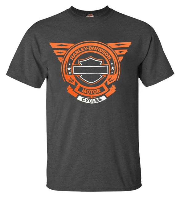Harley-Davidson Men's Way Down B&S Poly-Blend Short Sleeve T-Shirt, Charcoal - Wisconsin Harley-Davidson
